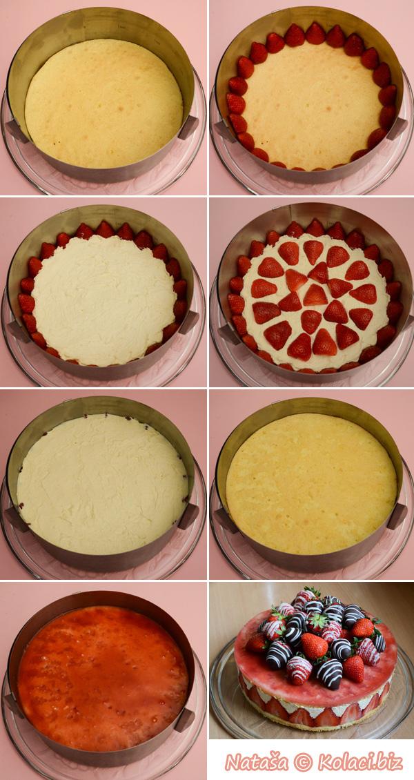 slaganje torte sa jagodama