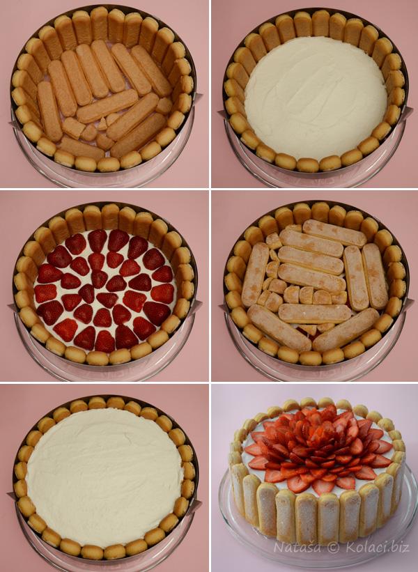 šarlota sa jagodama slaganje torte