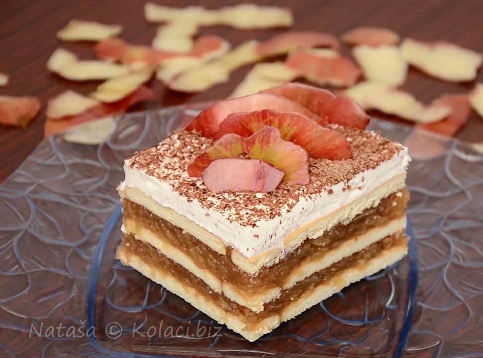 kolač sa jabukama i keksom