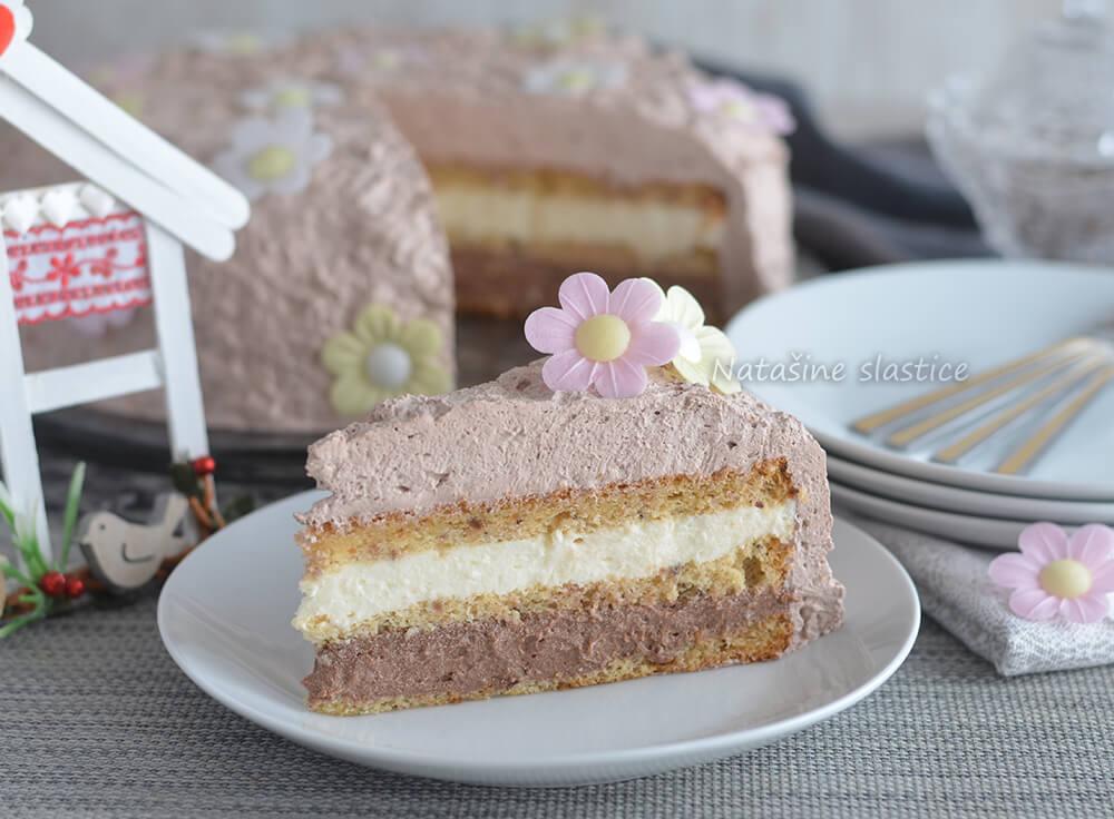 torta sa slatkim vrhnjem i čokoladom